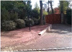 Driveway entrance with stone base