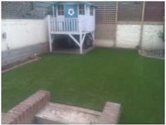 Finished lawn with play house